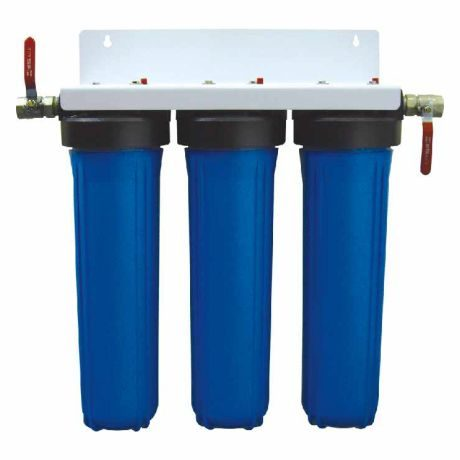 Three stage jumbo whole house water filter system